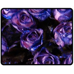 Purple Glitter Roses Valentine Love Double Sided Fleece Blanket (medium)  by yoursparklingshop
