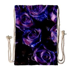 Purple Glitter Roses Valentine Love Drawstring Bag (large) by yoursparklingshop