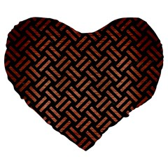 Woven2 Black Marble & Copper Brushed Metal Large 19  Premium Flano Heart Shape Cushion by trendistuff