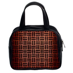 Woven1 Black Marble & Copper Brushed Metal (r) Classic Handbag (two Sides) by trendistuff