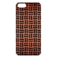 Woven1 Black Marble & Copper Brushed Metal (r) Apple Iphone 5 Seamless Case (white) by trendistuff