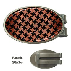 Houndstooth2 Black Marble & Copper Brushed Metal Money Clip (oval) by trendistuff