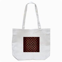 Houndstooth2 Black Marble & Copper Brushed Metal Tote Bag (white) by trendistuff