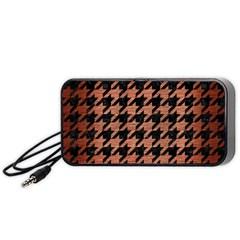 Houndstooth1 Black Marble & Copper Brushed Metal Portable Speaker (black) by trendistuff