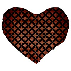 Circles3 Black Marble & Copper Brushed Metal (r) Large 19  Premium Flano Heart Shape Cushion by trendistuff