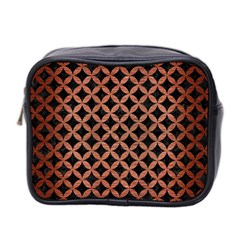 Circles3 Black Marble & Copper Brushed Metal Mini Toiletries Bag (two Sides) by trendistuff