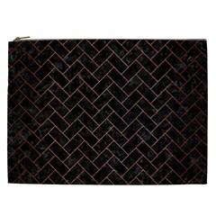 Brick2 Black Marble & Copper Brushed Metal Cosmetic Bag (xxl) by trendistuff