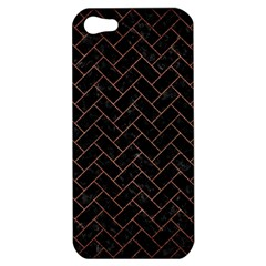 Brick2 Black Marble & Copper Brushed Metal Apple Iphone 5 Hardshell Case by trendistuff