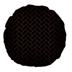 Brick2 Black Marble & Copper Brushed Metal Large 18  Premium Flano Round Cushion  by trendistuff