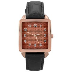 Brick1 Black Marble & Copper Brushed Metal (r) Rose Gold Leather Watch  by trendistuff