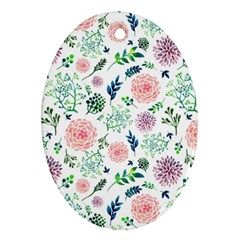 Hand Painted Spring Flourishes Flowers Pattern Ornament (oval)  by TastefulDesigns