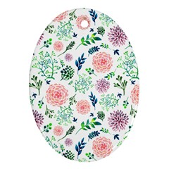 Hand Painted Spring Flourishes Flowers Pattern Oval Ornament (two Sides) by TastefulDesigns