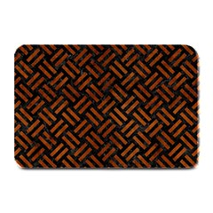 Woven2 Black Marble & Brown Burl Wood Plate Mat by trendistuff