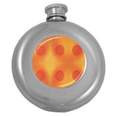 Sunny Happy Orange Dots Round Hip Flask (5 Oz) by yoursparklingshop