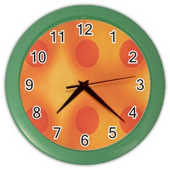 Sunny Happy Orange Dots Color Wall Clocks by yoursparklingshop
