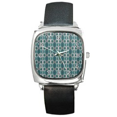 Tropical Blue Abstract Ocean Drops Square Metal Watch by yoursparklingshop