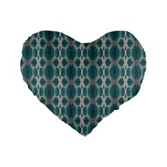 Tropical Blue Abstract Ocean Drops Standard 16  Premium Heart Shape Cushions by yoursparklingshop
