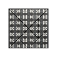 Black White Gray Crosses Acrylic Tangram Puzzle (4  X 4 ) by yoursparklingshop