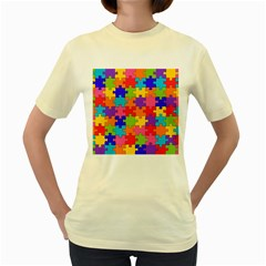 Funny Colorful Jigsaw Puzzle Women s Yellow T Shirt by yoursparklingshop