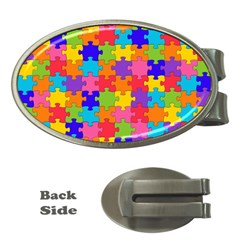 Funny Colorful Jigsaw Puzzle Money Clips (oval)  by yoursparklingshop