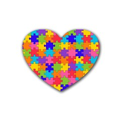 Funny Colorful Jigsaw Puzzle Rubber Coaster (heart)  by yoursparklingshop