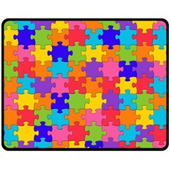 Funny Colorful Jigsaw Puzzle Fleece Blanket (medium)  by yoursparklingshop