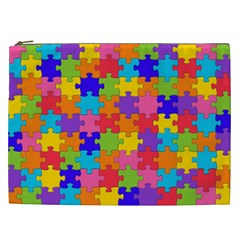 Funny Colorful Jigsaw Puzzle Cosmetic Bag (xxl)  by yoursparklingshop