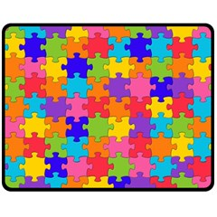Funny Colorful Jigsaw Puzzle Double Sided Fleece Blanket (medium)  by yoursparklingshop