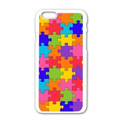 Funny Colorful Jigsaw Puzzle Apple Iphone 6/6s White Enamel Case by yoursparklingshop