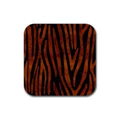 Skin4 Black Marble & Brown Burl Wood (r) Rubber Coaster (square) by trendistuff