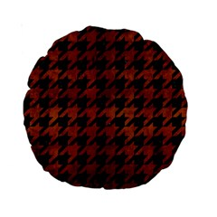 Houndstooth1 Black Marble & Brown Burl Wood Standard 15  Premium Round Cushion  by trendistuff