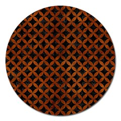 Circles3 Black Marble & Brown Burl Wood Magnet 5  (round) by trendistuff