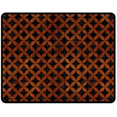 Circles3 Black Marble & Brown Burl Wood Double Sided Fleece Blanket (medium) by trendistuff