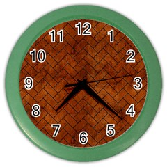 Brick2 Black Marble & Brown Burl Wood (r) Color Wall Clock by trendistuff