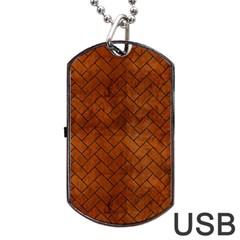 Brick2 Black Marble & Brown Burl Wood (r) Dog Tag Usb Flash (one Side) by trendistuff