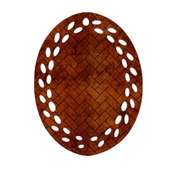 Brick2 Black Marble & Brown Burl Wood (r) Oval Filigree Ornament (two Sides) by trendistuff