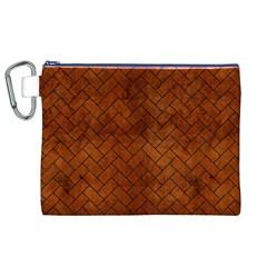 Brick2 Black Marble & Brown Burl Wood (r) Canvas Cosmetic Bag (xl) by trendistuff