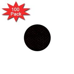 Brick2 Black Marble & Brown Burl Wood 1  Mini Button (100 Pack)  by trendistuff