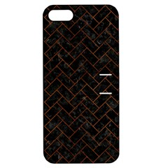 Brick2 Black Marble & Brown Burl Wood Apple Iphone 5 Hardshell Case With Stand by trendistuff