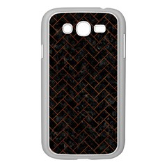 Brick2 Black Marble & Brown Burl Wood Samsung Galaxy Grand Duos I9082 Case (white) by trendistuff