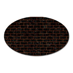 Brick1 Black Marble & Brown Burl Wood Magnet (oval) by trendistuff