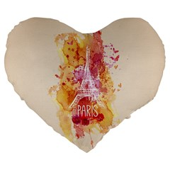 Paris With Watercolor Large 19  Premium Flano Heart Shape Cushions by TastefulDesigns