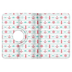 Seamless Nautical Pattern Kindle Fire Hdx Flip 360 Case by TastefulDesigns
