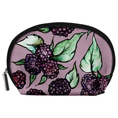 Black Raspberry Fruit Purple Pattern Accessory Pouches (large)  by BubbSnugg
