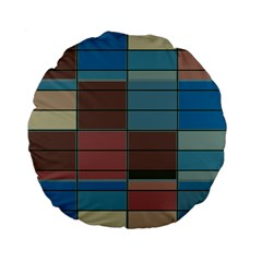 Rectangles In Retro Colors Pattern                      	standard 15  Premium Flano Round Cushion by LalyLauraFLM