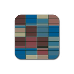 Rectangles In Retro Colors Pattern                      rubber Square Coaster (4 Pack by LalyLauraFLM