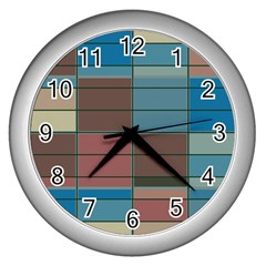 Rectangles In Retro Colors Pattern                      wall Clock (silver) by LalyLauraFLM