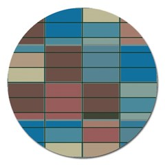 Rectangles In Retro Colors Pattern                      magnet 5  (round) by LalyLauraFLM