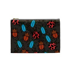 Beetles And Ladybug Pattern Bug Lover  Cosmetic Bag (medium)  by BubbSnugg
