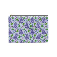 Liliac Flowers And Leaves Pattern Cosmetic Bag (medium)  by TastefulDesigns